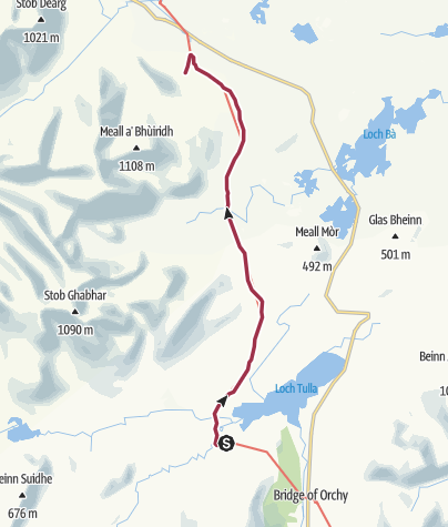 Map / Inveroran to Glencoe Ski Centre / Shuttle Pick-Up