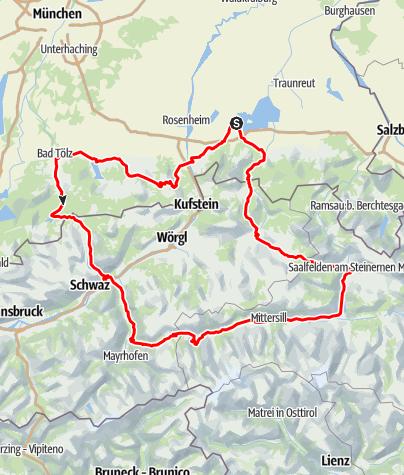 Karte / Über den Achensee zu den Krimmler Wasserfällen