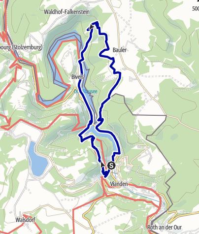 Karte / NaturWanderPark delux: Nat'Our Route 5 (L-Vianden/L-Bivels)