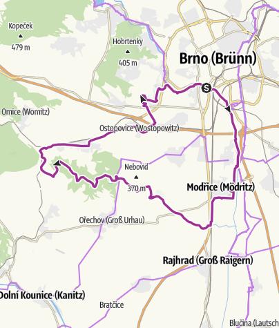 Mapa / Naučná cyklotrasa Přírodním parkem Bobrava