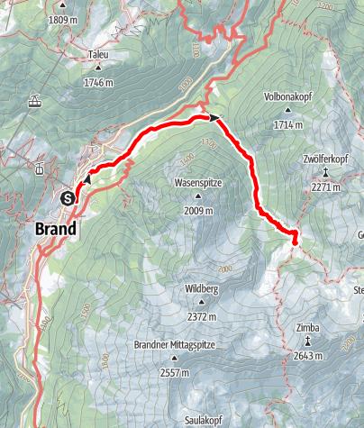 Karte / Zustieg von Brand zur Sarotlahütte