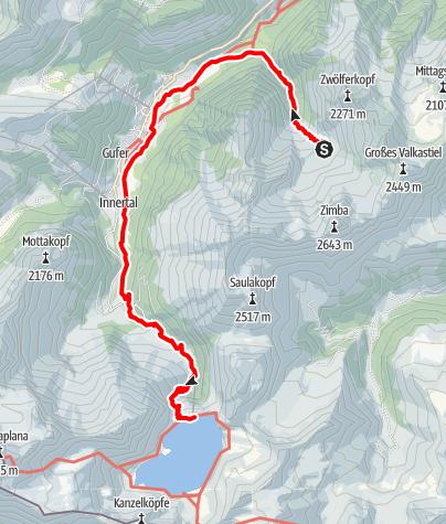 Karte / Übergang von der Sarotlahütte über Brand zur Douglasshütte