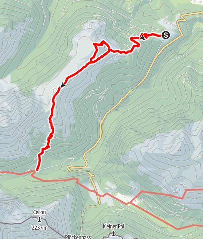 Karte / Rundtour Mauthner Alm - Hinterjoch - Untere Valentinalm