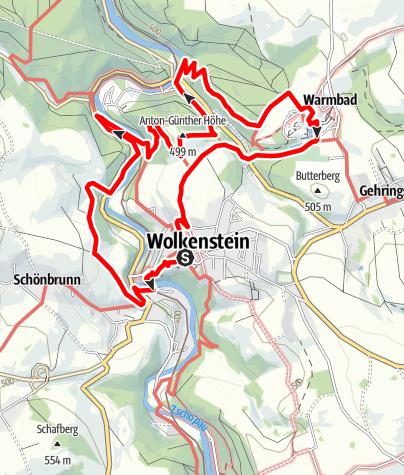 Karte / Alpiner Wandersteig - Stadt Wolkenstein/Warmbad (Grenzenlos. Wildromantische Naturerlebnisse)