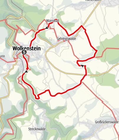 Karte / Auf den Spuren des Bergbaus - Stadt Wolkenstein/Warmbad (Glück Auf! Bergbaugeschichte erwandern)