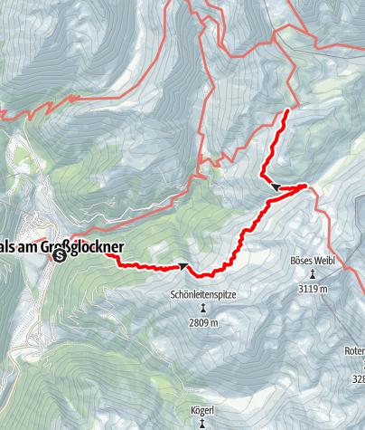 Kaart / Zustieg Glorer Hütte von Kals