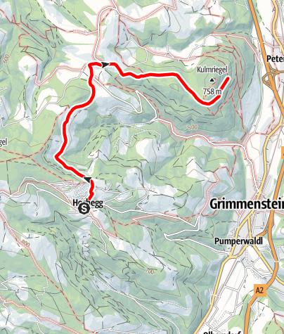 Mapa / Weg von Hochegg zur Burg Grimmenstein