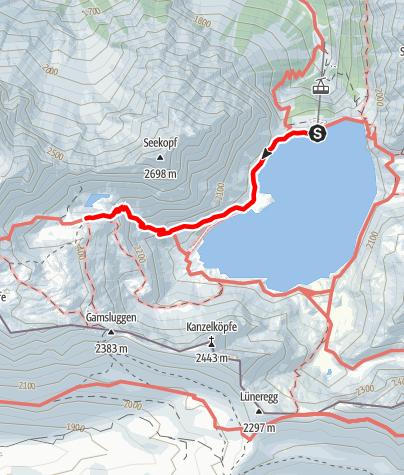 Karte / Zustieg von der Bergstation der Lünerseebahn zur Totalphütte