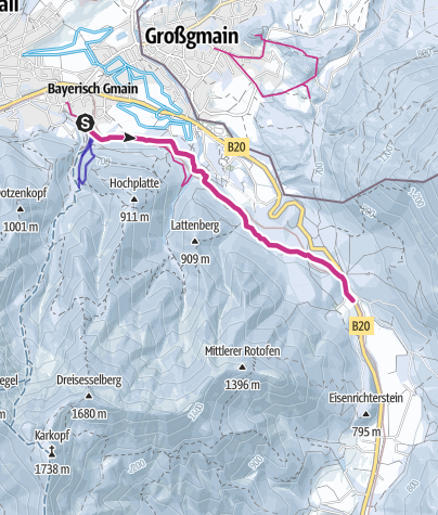 Karte / Winterwanderung auf dem Hallthurmer Weg - von Bayerisch Gmain nach Hallthurm