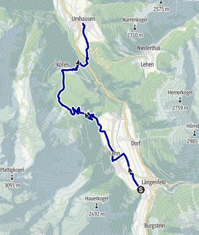 Kaart / Von Längenfeld nach Umhausen