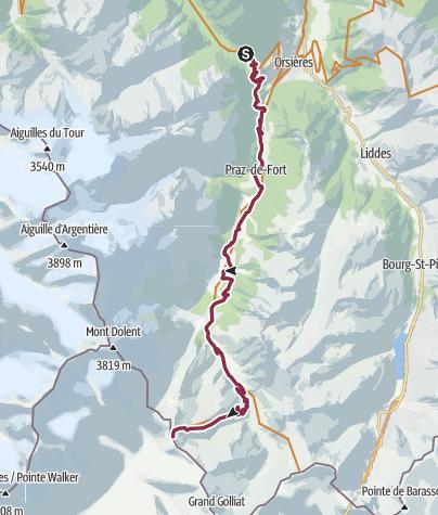 Karte / Tour du Mont-Blanc Bike Champex-Grand Col Ferret