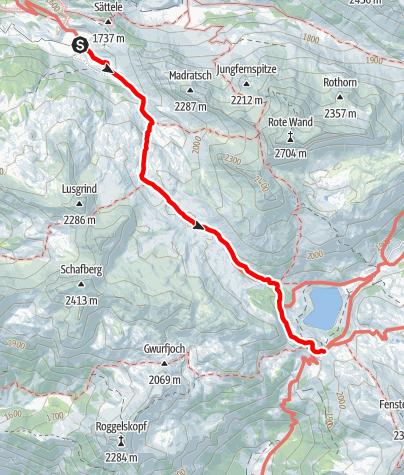 Karte / Zustieg Freiburger Hütte von der Laguzalpe