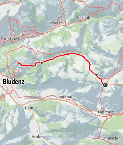 Karte / Übergang Freiburger Hütte zur Frassenhütte