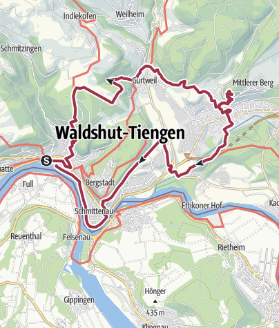 Karte / Waldshut-Tiengen: Stadt. Wald. Fluss. Tour.