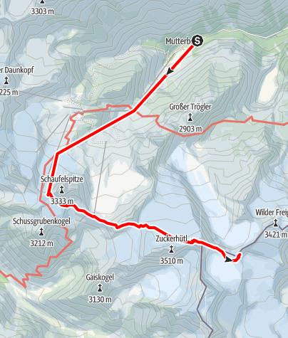 Mapa / Zustieg zur Müllerhütte von Stubaier Gletscherbahn Bergstation
