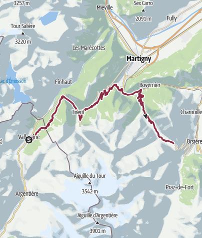 Karte / Tour du Mont Blanc Bike Vallorcine - Champex-Lac