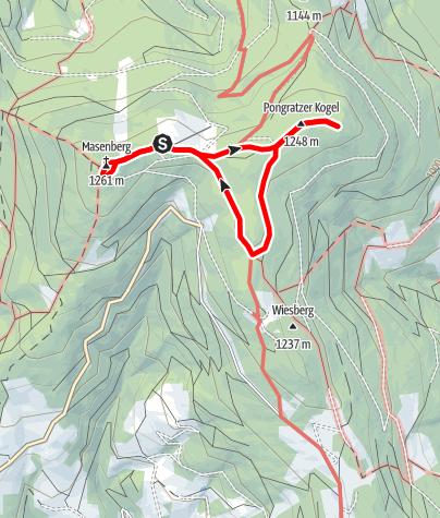 Karte / Rundweg am Masenberg mit Windräder, Gipfelkreuz und Olmstoll