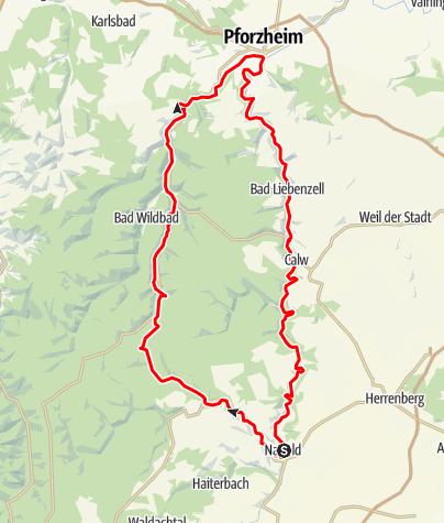Karte / Kleine Tälerrunde - die Verbindung von Nagoldtalradweg und Enztalradweg über das kleine Enztal zur reizvollen Radrundtour