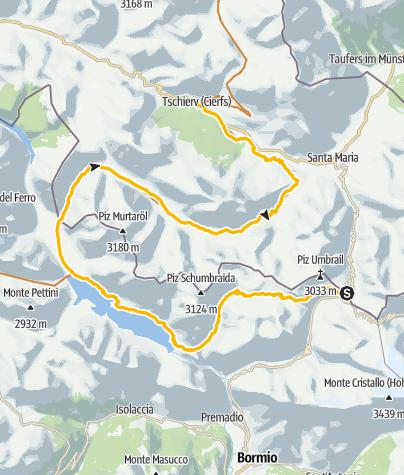 Karte / Piz da las trais Linguas - Umbrail - Val Mora - Tschierv