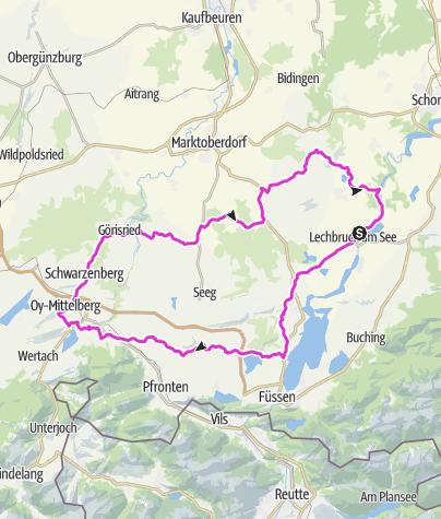 Karte / Rennradroute 11. ABK Allgäuer Radltour