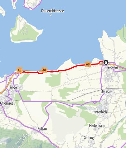"""Karte / Chiemsee Radweg """"Abkürzung"""" entlang der Autobahn"""