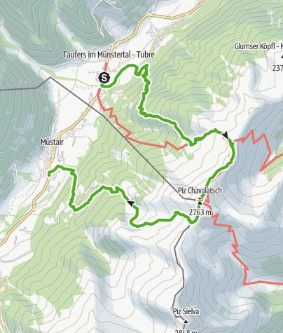 Karte / Taufers - Piz Chavalatsch - Müstair