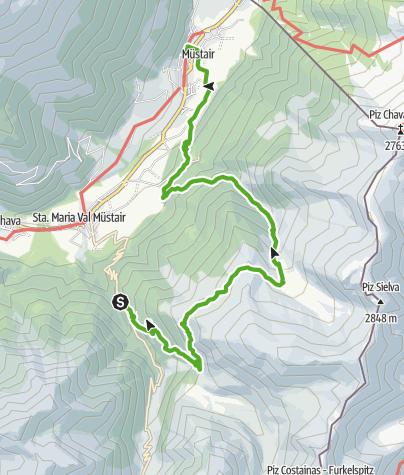 Karte / Plattatschas - Sassa Marscha - Alp Sielva - Müstair