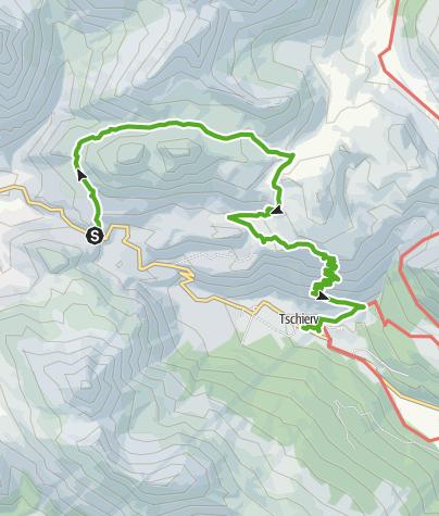 Karte / Süsom Givè - Chaschlot - Valbella - Tschierv Biotop la Stretta