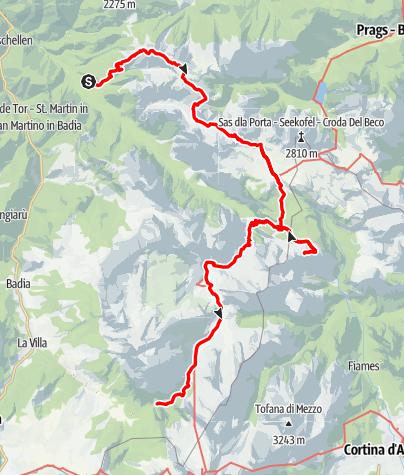 Mapa / 3-Tageswanderung im Naturpark Fanes-Senes-Prags