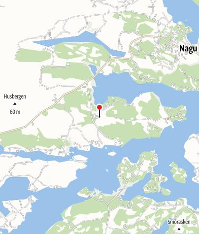 Karta / Från Hotel Stallbacken i Nagu till Korpoström med motorbåt