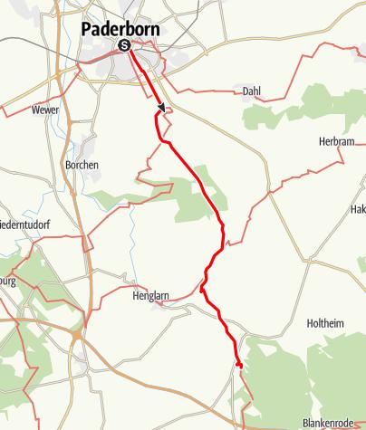 Kaart / Jakobsweg Westfalen: Paderborn - Kloster Dalheim
