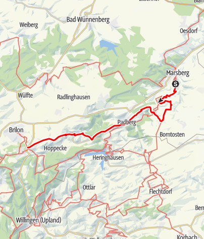 Map / Jakobsweg Westfalen: Obermarsberg - Brilon