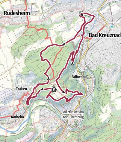 Carte / 25. August 2019: 3x3 Salinental: Eröffnung des Wandergebietes zwischen Kauzenburg und Rotenfels, Bad Kreuznach