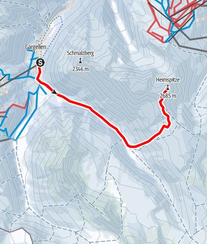 Karte / Heimspitze 2.685 m von Gargellen