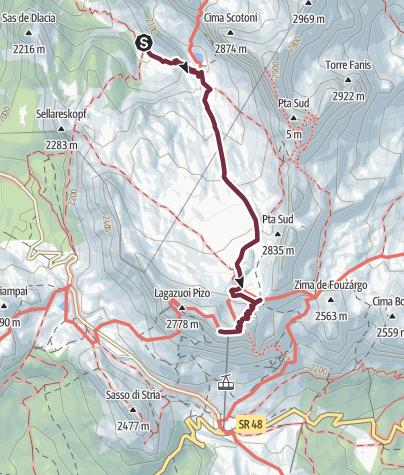 Karte / AV1 Segment F - Rifugio Scotoni to Rifugio Lagazuoi