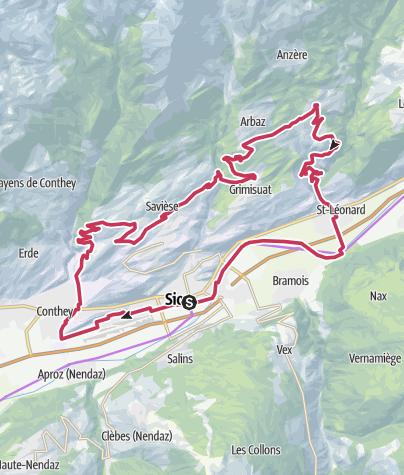 Cartina / Châteaux de Sion und Umgebung