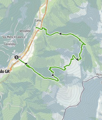 Cartina / Riserva Forestale Val Cama - Val Leggia - Val Grono