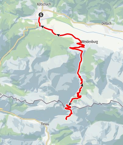 Karte / KM6 - Kötschach Mauthen-Kronhofer Törl-Malga Pramosio