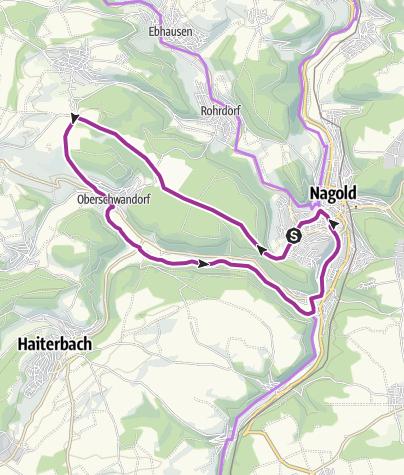 Karte / Von Nagold über den Killberg zum Chaussehaus und zurück durchs Waldachtal