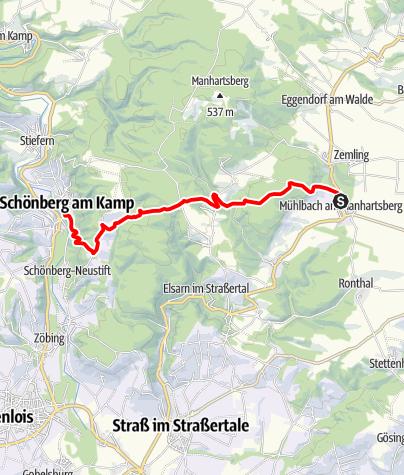 Térkép / Joseph Misson-Wanderweg Mühlbach - Schönberg am Kamp