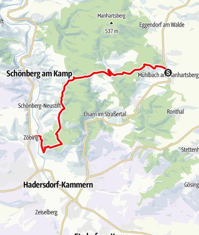 Mapa / Joseph Misson-Wanderweg Mühlbach - Wolfsgraben - Heiligenstein - Zöbing