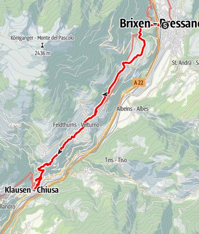 "Kaart / Der ""Keschtnweg"" von Brixen nach Klausen"