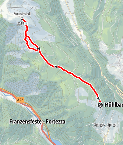 Map / From Spinges to the Stoanamandl Peak