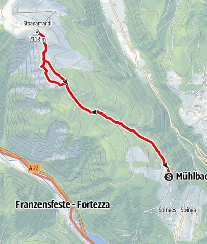 Mapa / Von Spinges zum Gipfel Stoanamandl