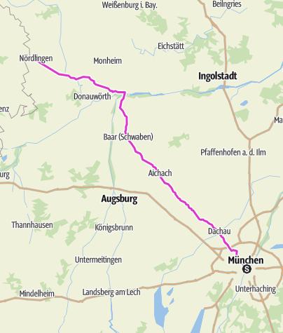 Karte / Pink Ribbon Tour 2019 - Etappe 1 von 14 (München - Nördlingen) München - Hamburg - Konstanz
