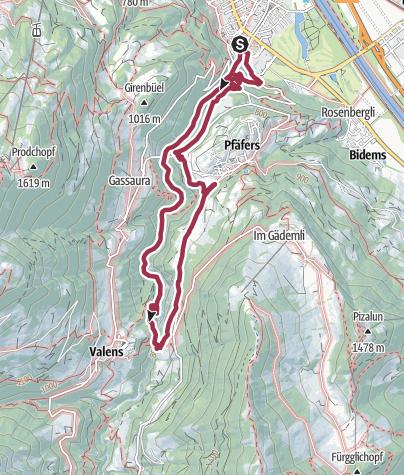 Karte / 12. Nationaler Wandertag: Wanderung 3 - Thermalwasser-Wanderung Taminatal