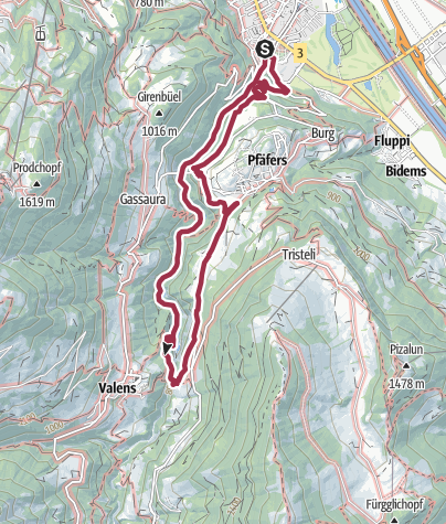 Map / 12th National Hiking Day: Hike 3 - Thermal Water Hike Tamina Valley