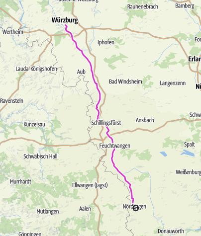 Karte / Pink Ribbon Tour 2019 - Etappe 2 von 14 (Nördlingen-Würzburg) München - Hamburg - Konstanz