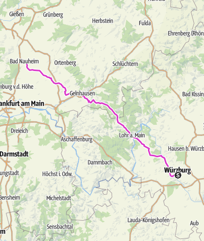 Karte / Pink Ribbon Tour 2019 - Etappe 3 von 14 (Würzburg-Bad Nauheim) München - Hamburg - Konstanz
