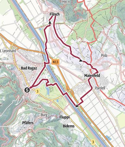Karte / 12. Nationaler Wandertag: Wanderung 2 - Weinwanderung Bündner Herrschaft
